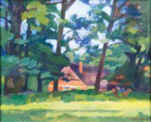 Udo Peters (Hannover 1884 - Worpswede 1964). Gehöft unter Bäumen. Öl/Karton, 47 x 59 cm, r. u. sign.