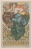 Alfons Mucha (Eibenschütz/Mähren 1860 - Prag 1939). Frau und Bär - Document décoratifs No. 47.