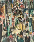 Rudolf Behrend (Neuheikendorf 1895 - Heikendorf 1979). Leben in der Stadt. Öl/Lw., 54,5 x 44 cm,