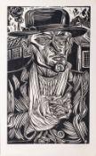 Conrad Felixmüller (Dresden 1897 - Berlin 1977). Fabrikarbeiter. Holzschnitt, 48,5 x 29 cm, r. u.