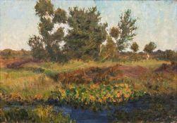 Fritz Overbeck (Bremen 1869 - Worpswede 1909). Im Teufelsmoor. 1903, Öl/Lw./Holz, 49 x 71,5 cm, l.