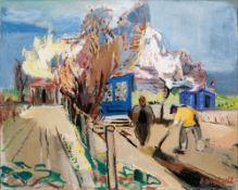 Gretchen Wohlwill (Hamburg 1878 - Hamburg 1962). Frühling in Finkenwerder. Öl/Lw., 61 x 75 cm, r. u.