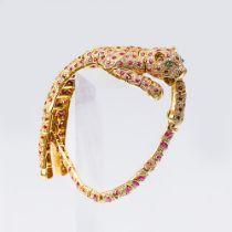 Rubin-Brillant-Armband 'Panther'. 18 kt. GG. Dreidimensionale Panther-Figur aus beweglichen