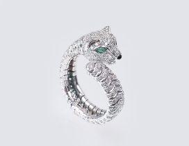 Ringspange mit Brillanten 'Panther'. 18 kt. WG, gest. Offene Ringschiene, umlaufend 315 kl. Brill.