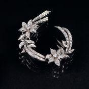 Vintage Blüten-Diamant-Brosche.