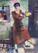 Erich Hartmann (Elberfeld 1886 - Hamburg 1974). Frau mit Fruchtschale.