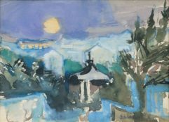 Gretchen Wohlwill (Hamburg 1878 - Hamburg 1962). Blankenese bei Nacht.