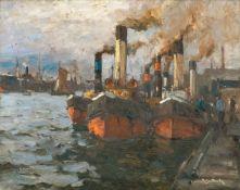 Leonhard Sandrock (Neumarkt 1867 - Berlin 1945). Schlepper an den St. Pauli-Landungsbrücken.