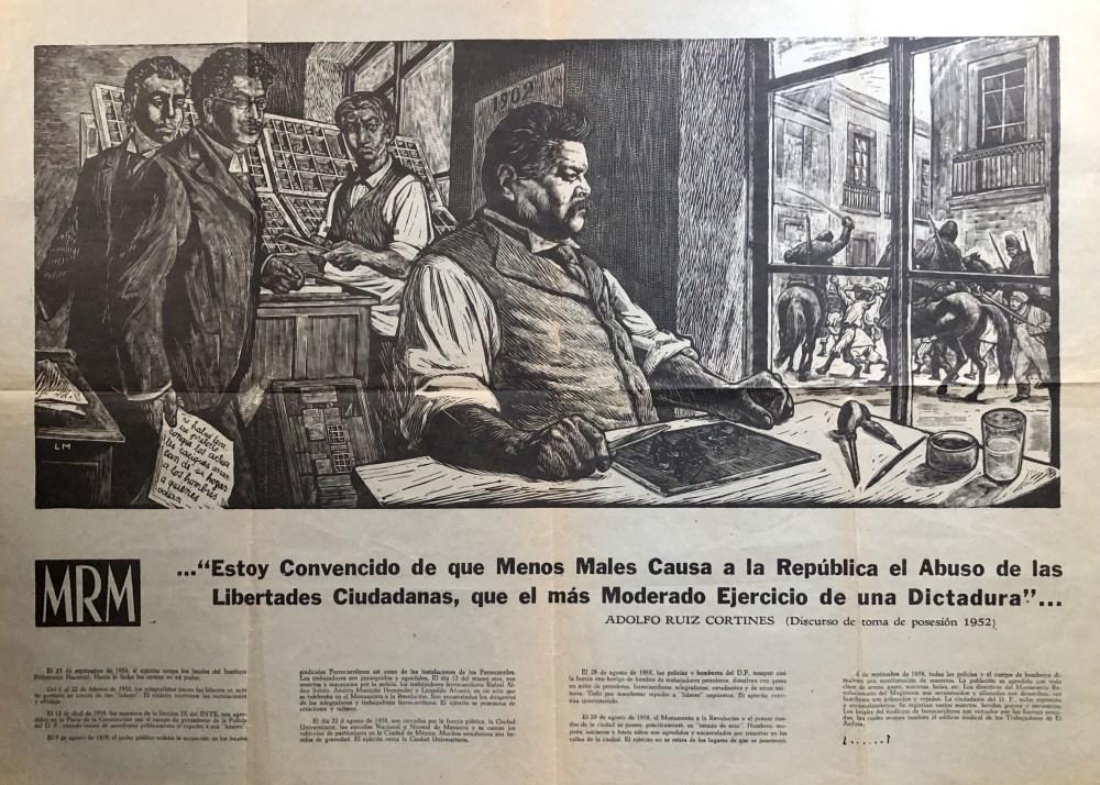 LEOPOLDO MENDEZ - Homenaje a Posada - Direct letterpress printing from a linograph