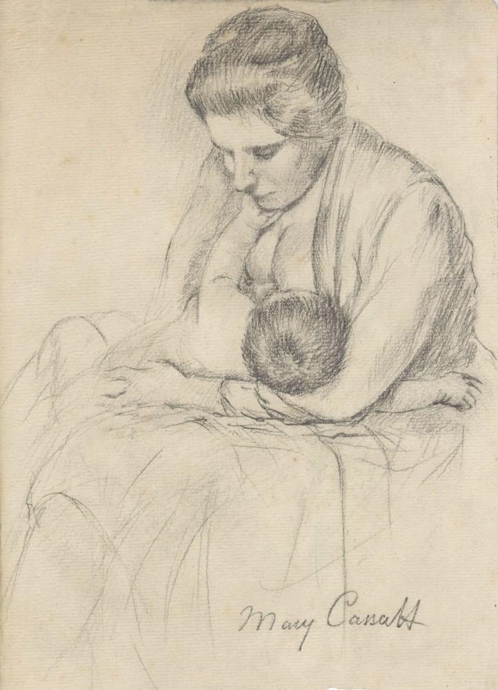 MARY CASSATT - Mother Nursing Her Child - Pencil drawing on paper