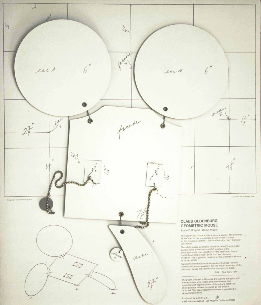 CLAES OLDENBURG - Geometric Mouse - Scale D - Paper and metal multiple