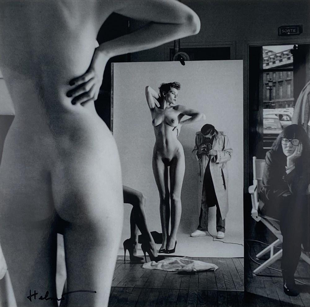 HELMUT NEWTON - Self-Portrait with Wife and Models, Paris, Vogue Hommes - Original vintage photol...