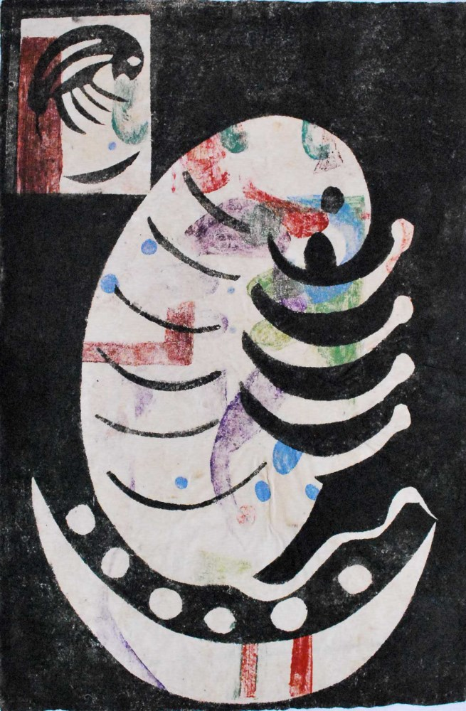 KARIMA MUYAES - Criaturas - Color stencil monoprint