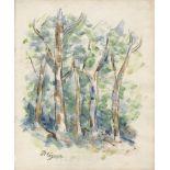 PAUL CEZANNE - Arbres au bord d'une route en Provence - Watercolor and pencil drawing on paper