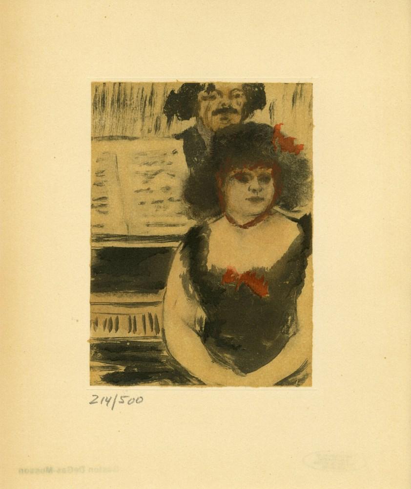 EDGAR DEGAS - Pianiste et le chanteur - Original color gravure with pochoir, after the monotype