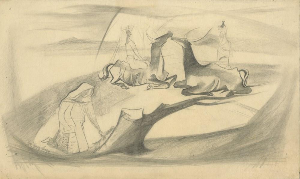 JOSE GARCIA NAREZO - Dos toros - Pencil drawing