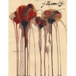 CY TWOMBLY - Untitled Study (#3) - Oil and acrylic on paper