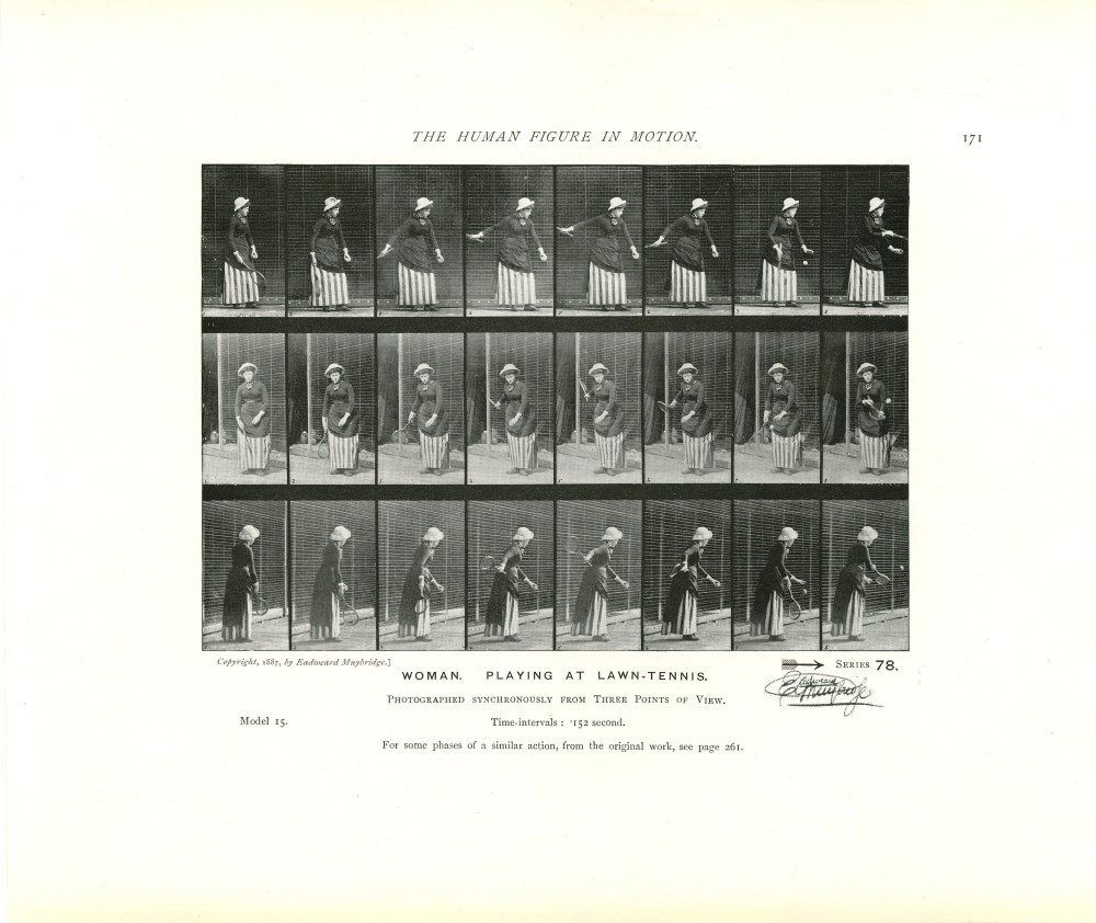 EADWEARD MUYBRIDGE - Woman: Playing at Lawn-Tennis - Original photomezzotint & letterpress