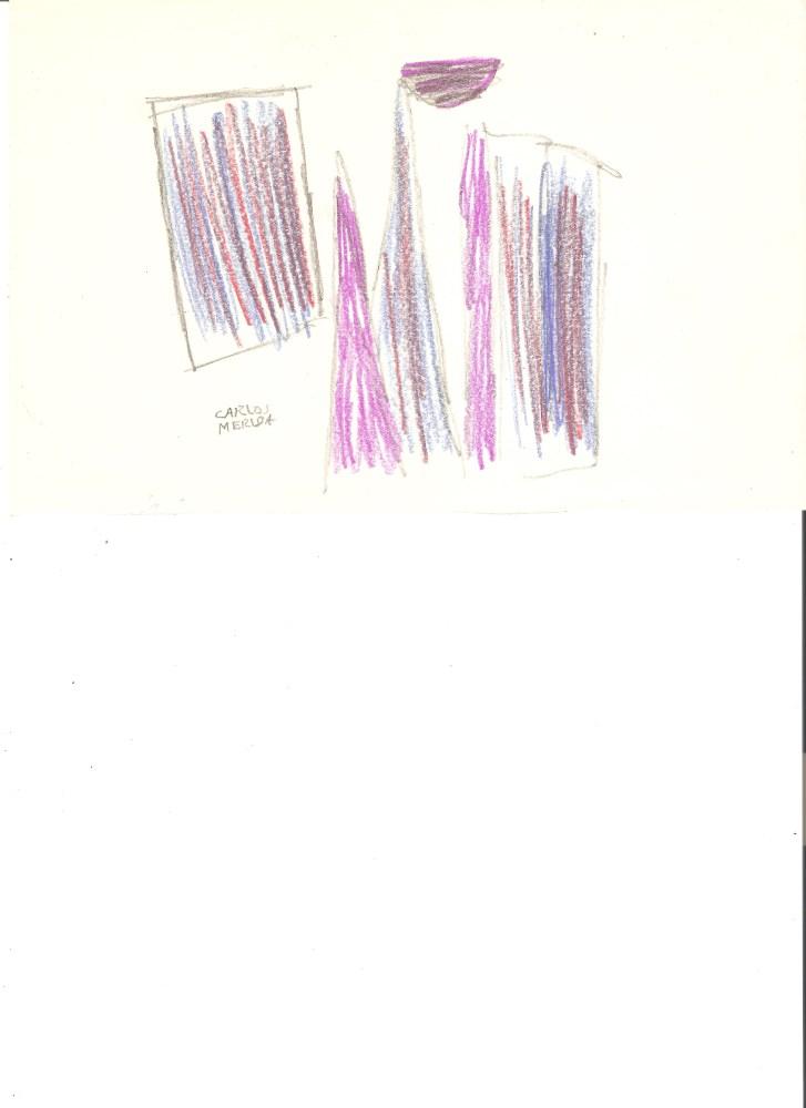 CARLOS MERIDA - Boceto #04 - Pencil and color pencil drawing on paper