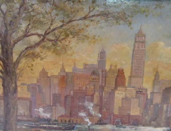 C. C. COOPER - New York City from the Dock - Oil on panel - Image 7 of 9