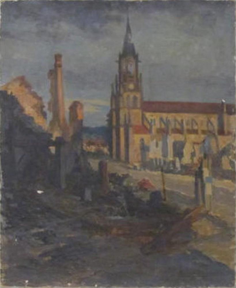 GEORGES PLASSE - Eglise au Baccarat - Oil on canvas