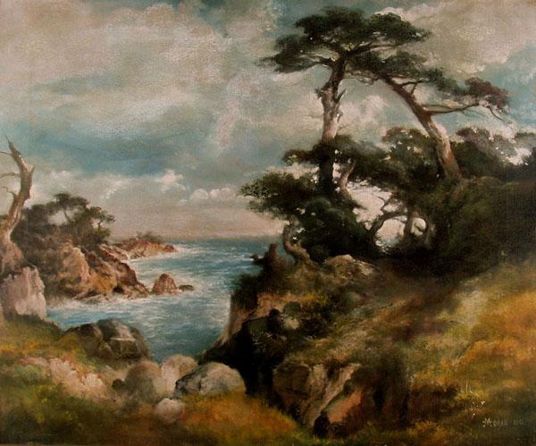 THOMAS MORAN - Near Point Lobos, China Cove, Monterey Coast, California - Oil on canvas