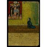 MEXICAN SCHOOL (EX-VOTO ARTIST) 20TH CENTURY - Vintage Ex-Voto/Retablo: Porfiria Velis Lopez - Oi...