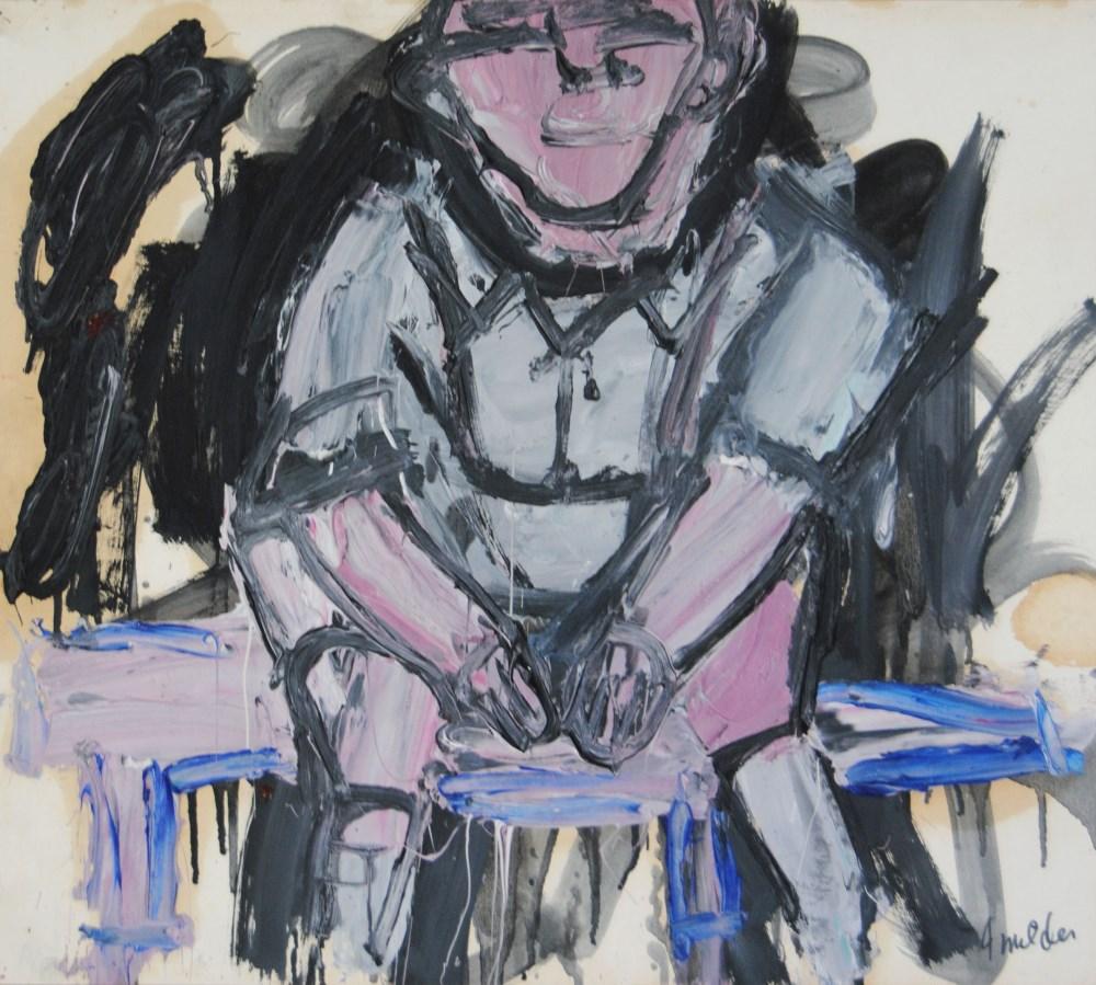 JAY MILDER - Subway Woman, New York City - Oil on paper