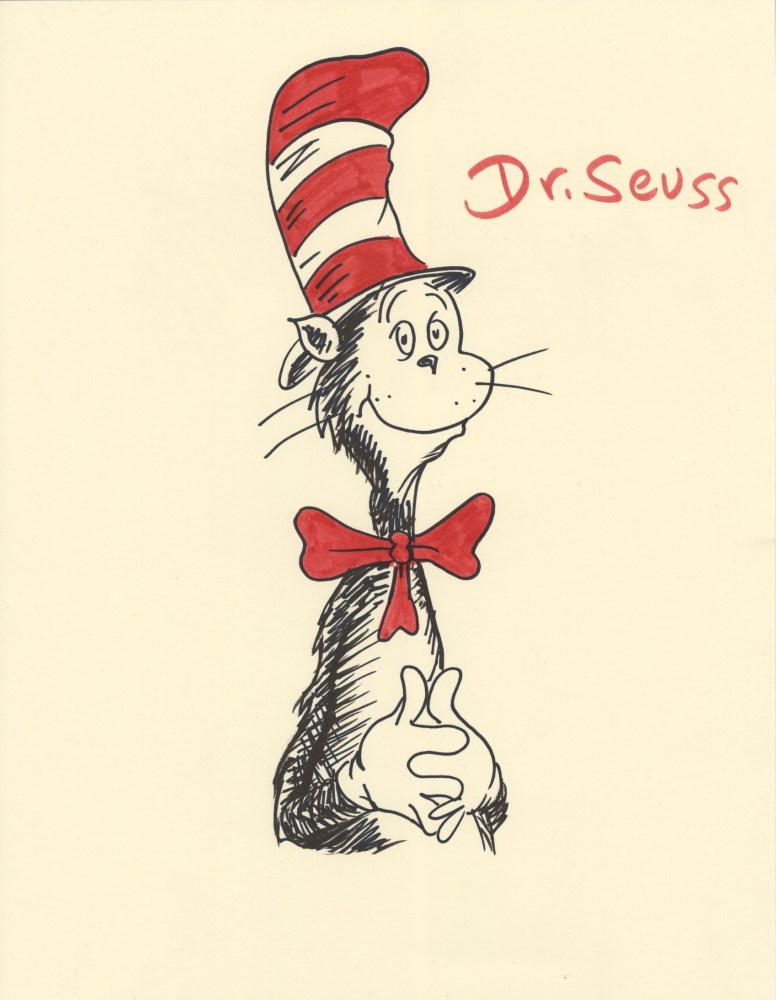 THEODOR SEUSS GEISEL [DR. SEUSS] - The Cat in the Hat - Felt-tip pen and colored marker on paper
