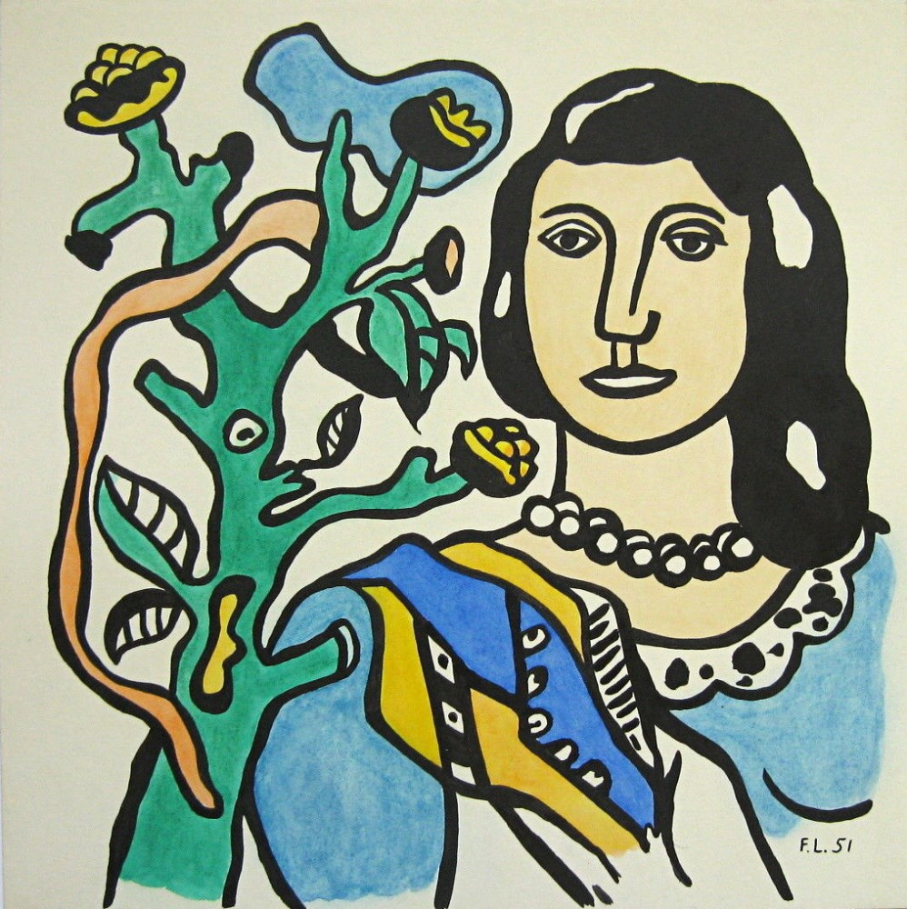 FERNAND LEGER - Femme a la fleur - Watercolor, gouache, and ink drawing on paper