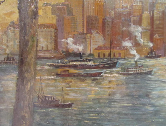 C. C. COOPER - New York City from the Dock - Oil on panel - Image 6 of 9