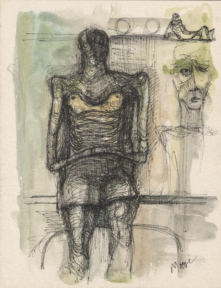 HENRY MOORE - Study for Sculpture - Watercolor and ink on paper