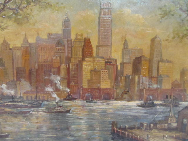 C. C. COOPER - New York City from the Dock - Oil on panel - Image 5 of 9