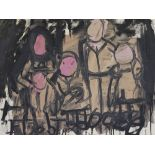 JAY MILDER - Five Subway Riders, New York City - Oil on paper