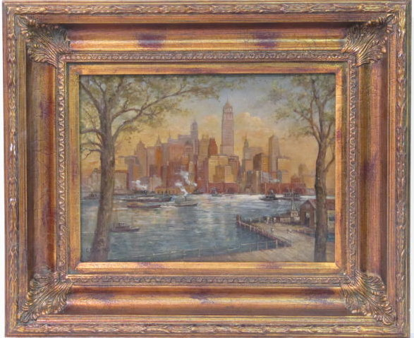C. C. COOPER - New York City from the Dock - Oil on panel