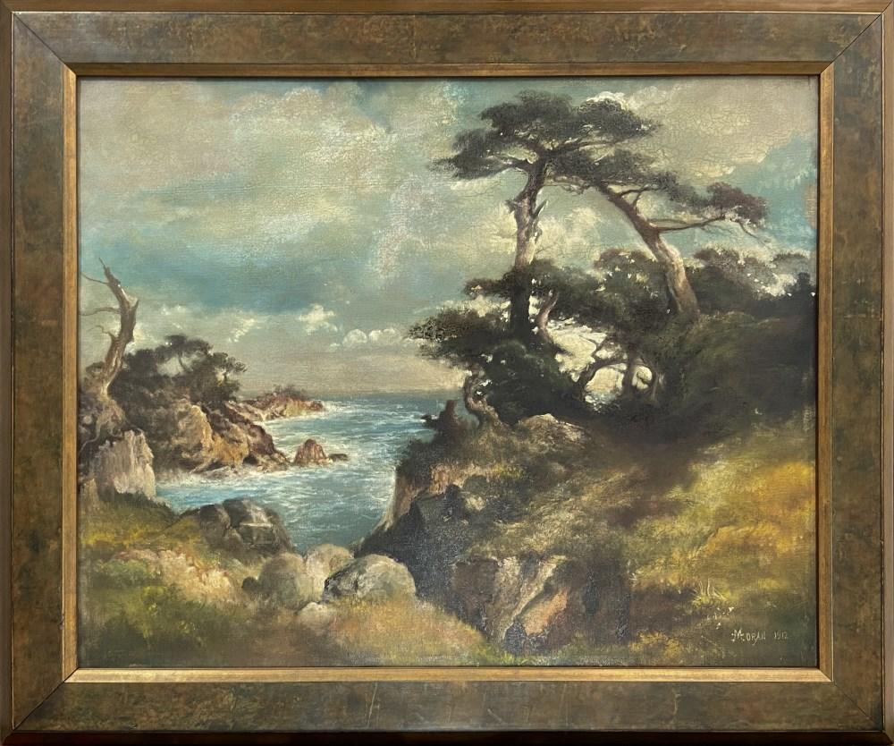 THOMAS MORAN - Near Point Lobos, China Cove, Monterey Coast, California - Oil on canvas - Image 2 of 4