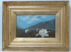 JOHN LAFARGE - Water Lilies - Oil on panel