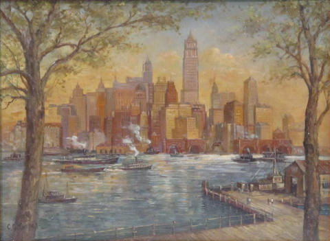 C. C. COOPER - New York City from the Dock - Oil on panel - Image 2 of 9