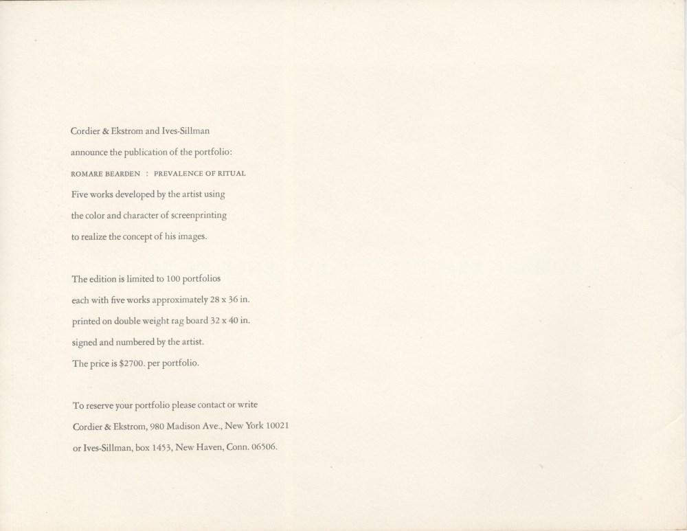 ROMARE BEARDEN - Salome with the Head of John the Baptist - Original color silkscreen - Image 3 of 3