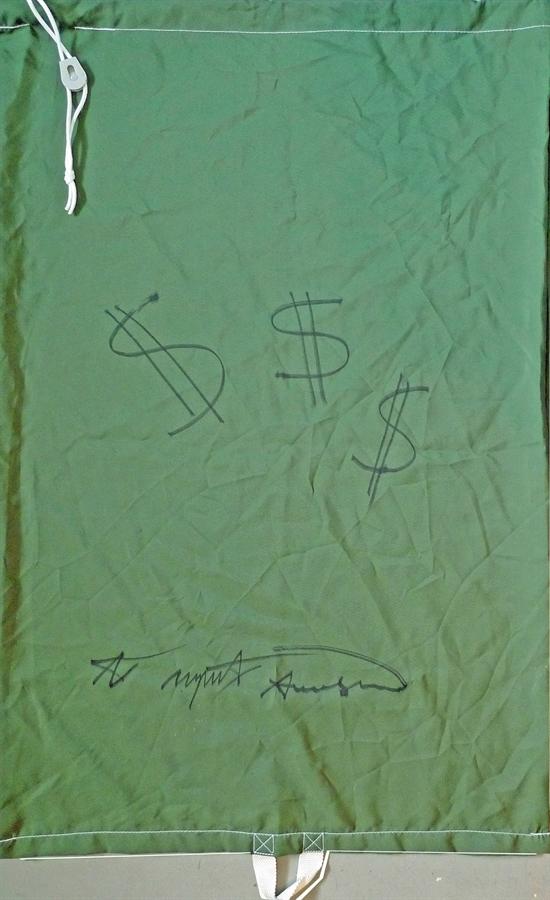 ANDY WARHOL - Dollar Signs - $$$ - Laundry Bag - Black marker drawings on green rip-stop nylon la...