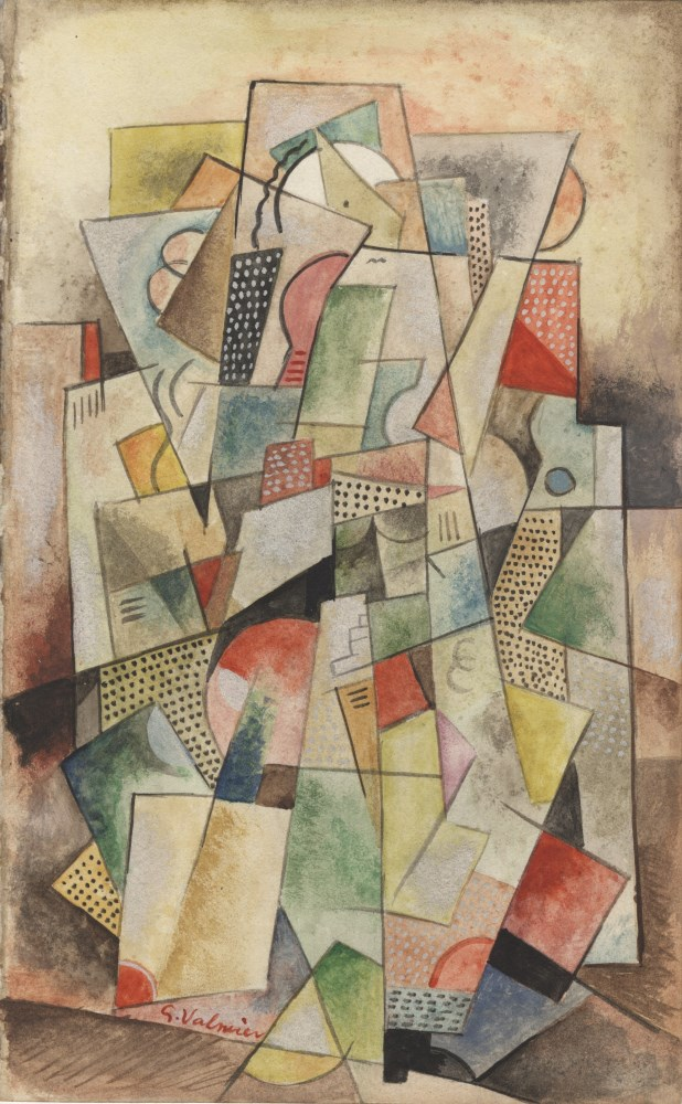 GEORGES VALMIER - Composition cubiste - Watercolor and gouache drawing on paper