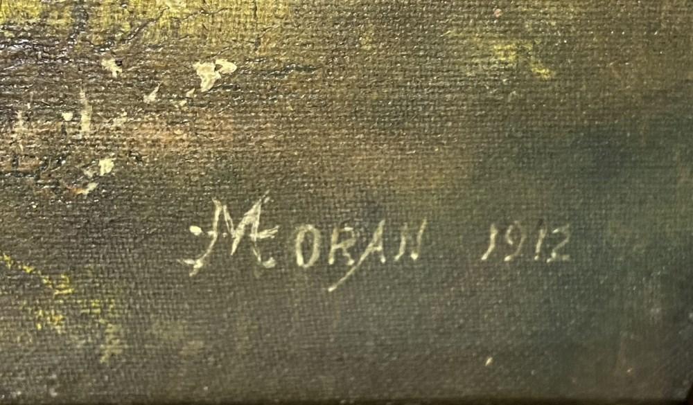 THOMAS MORAN - Near Point Lobos, China Cove, Monterey Coast, California - Oil on canvas - Image 3 of 4