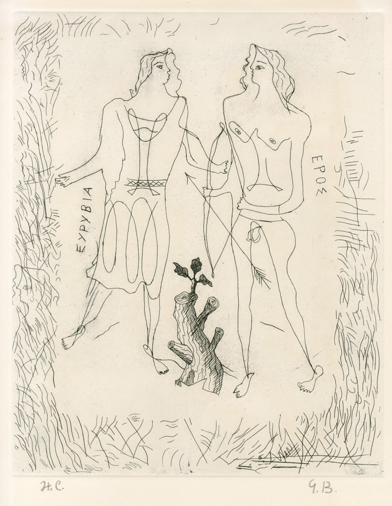 GEORGES BRAQUE - Eurybia and Eros - Original etching and drypoint