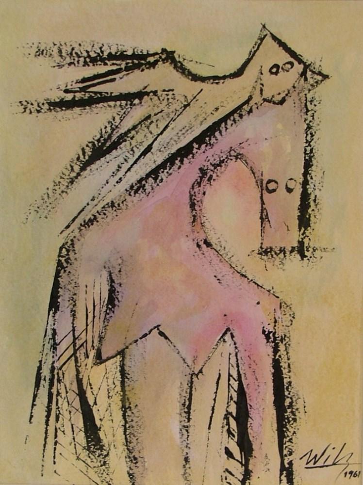 WIFREDO LAM - El Par - Gouache on paper