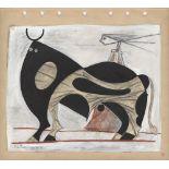 OSCAR DOMINGUEZ - El toro - Gouache and crayon drawing on paper