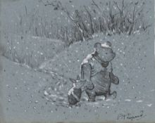E(RNEST) H(OWARD) SHEPARD - Winnie the Pooh and Piglet in the Snow - Watercolor and ink drawing o...