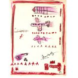 JEAN-MICHEL BASQUIAT - Graft - Crayon, marker, pen, and pencil drawing on paper