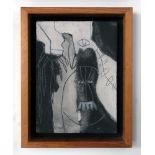 KARIMA MUYAES - Personaje y pájaro - Carborundum & marble powder on canvas