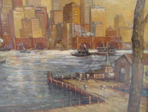 C. C. COOPER - New York City from the Dock - Oil on panel - Image 8 of 9