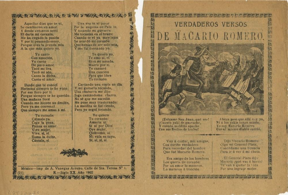 JOSE GUADALUPE POSADA - Verdaderos Versos de Macario Romero - Relief engraving